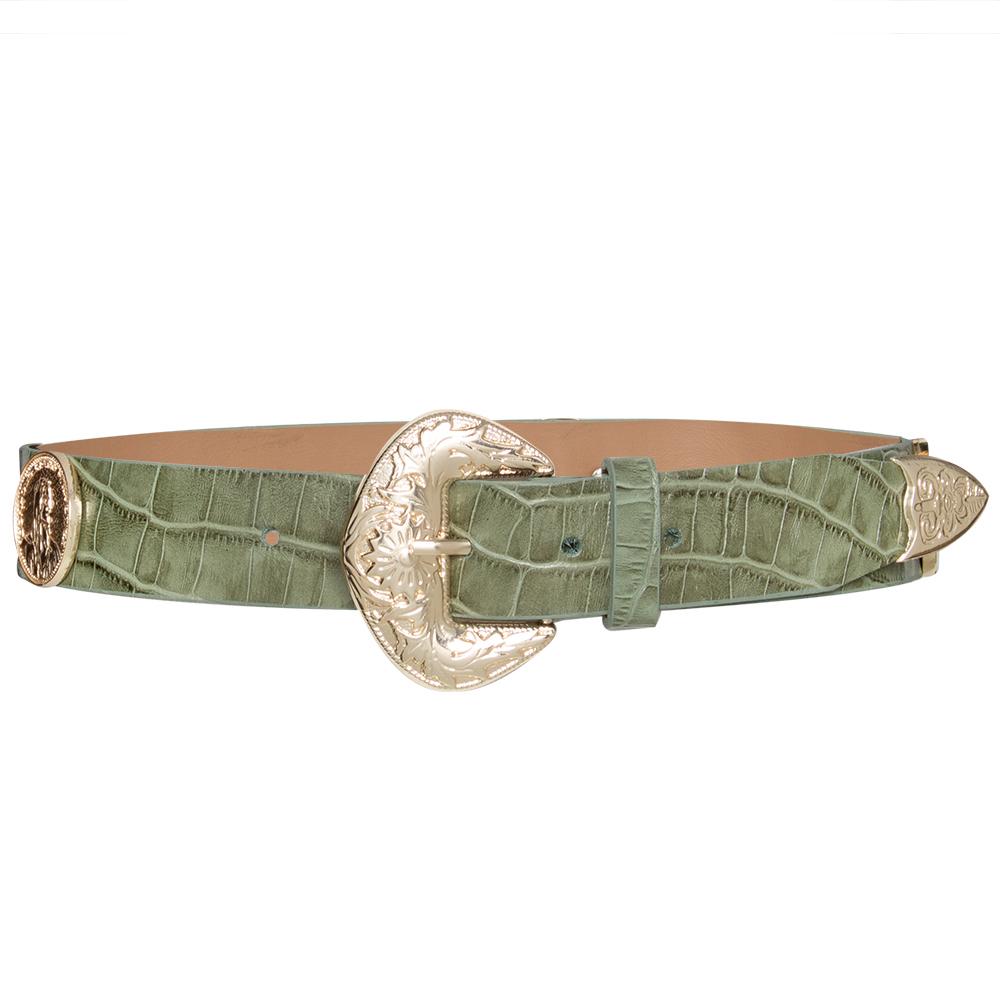 Lançamento - Cinto de Couro Verde  com apliques dourado de medalha Trend  - 3,5cm - Feminino