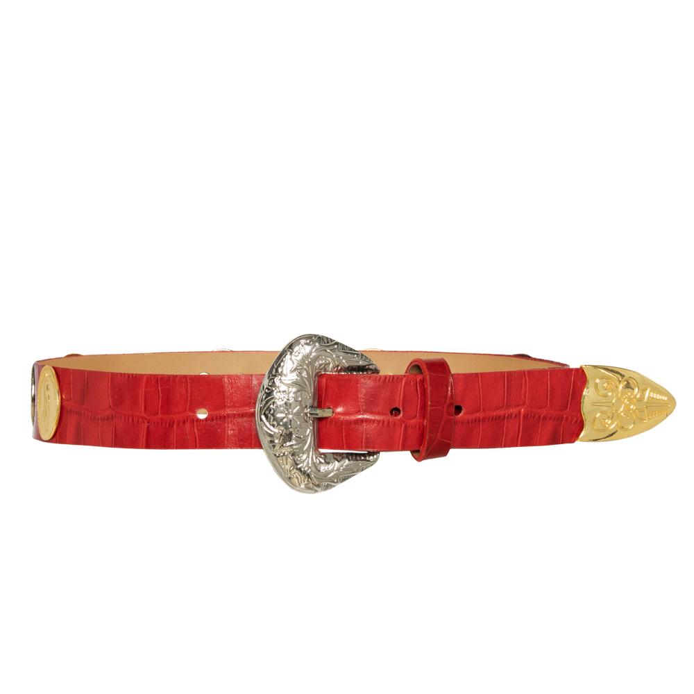 Lançamento - Cinto de Couro Vermelho com  apliques dourado e prata  de medalha   - 3cm - Feminino