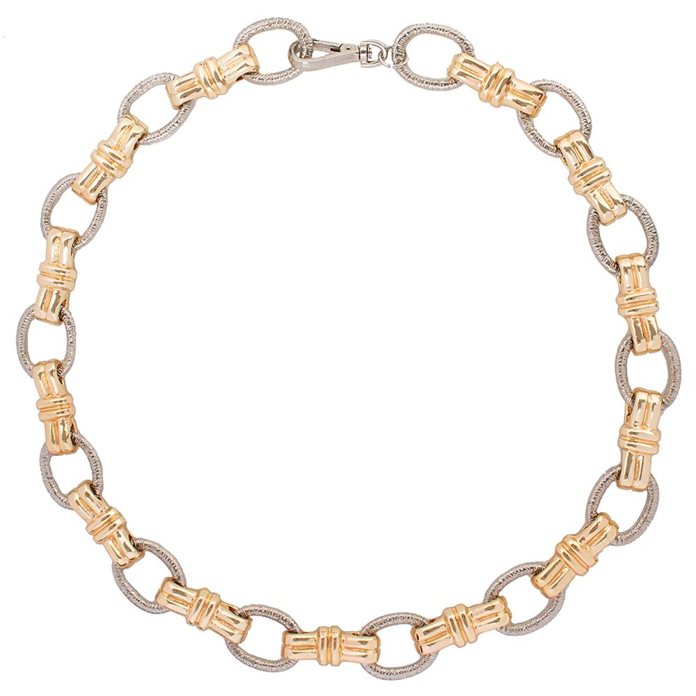 Lançamento - Corrente Dourada Elos Prata e Dourado -  Virgínia Cavalheiro - Feminino