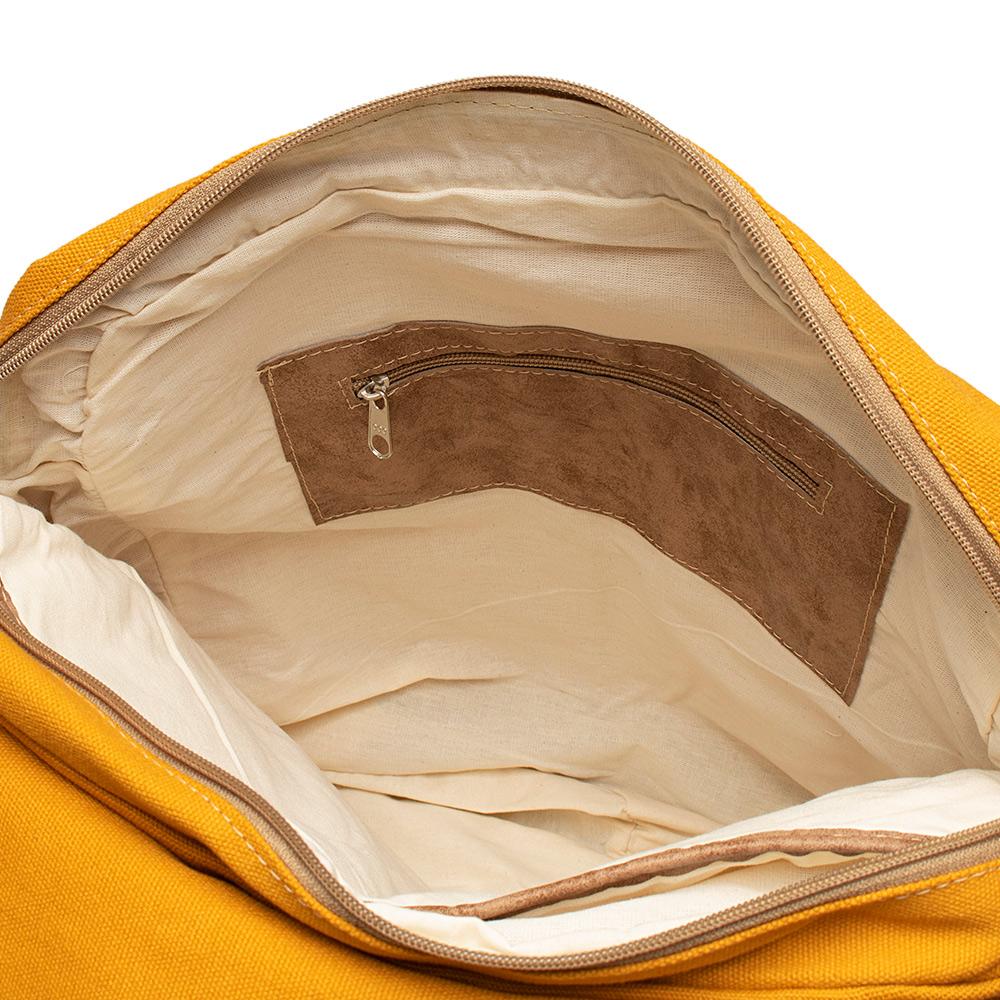 Mochila de Lona  Amarela  - Cintos Exclusivos - Unissex