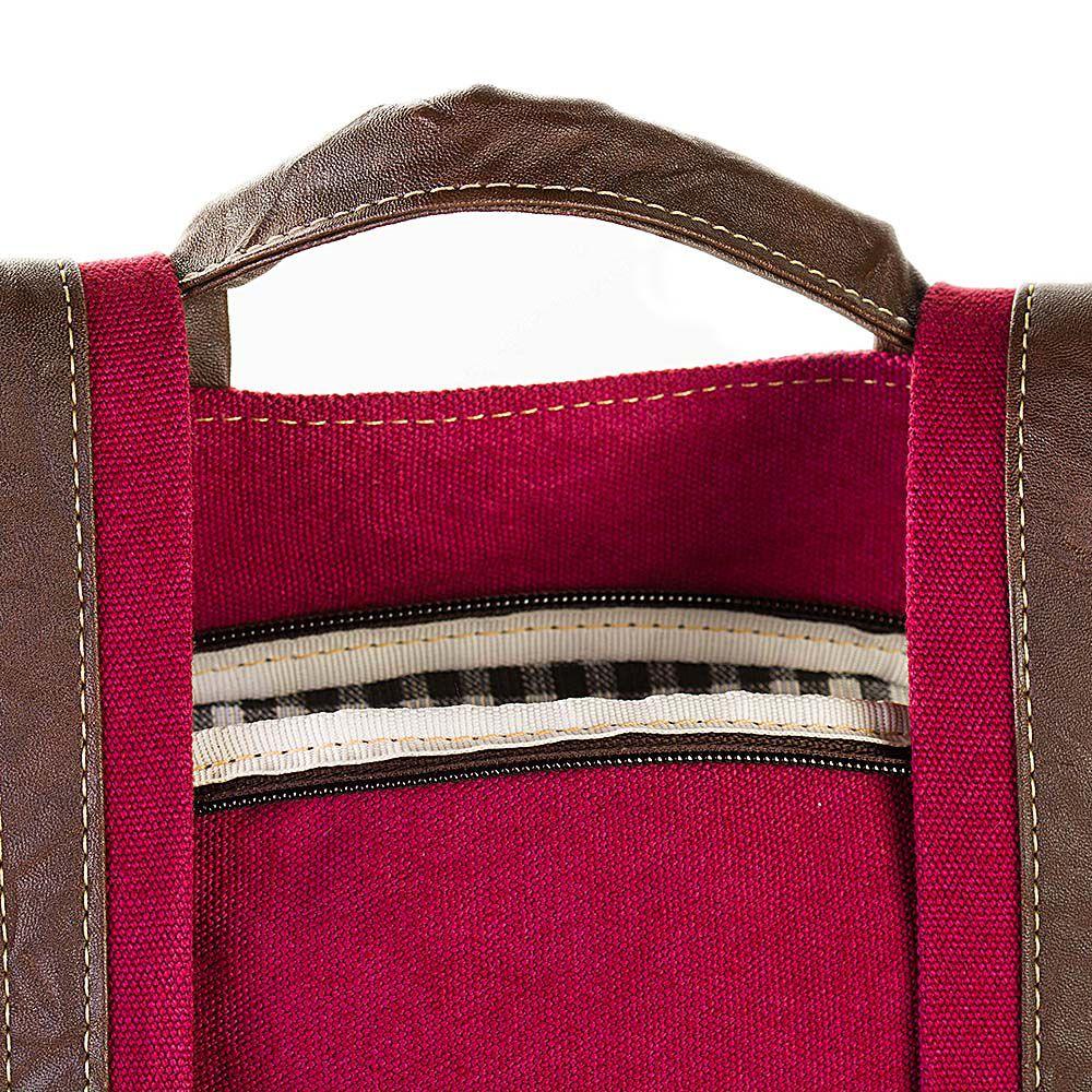 Mochila de Lona Anti Furto Rosa - Cintos Exclusivos - Feminino