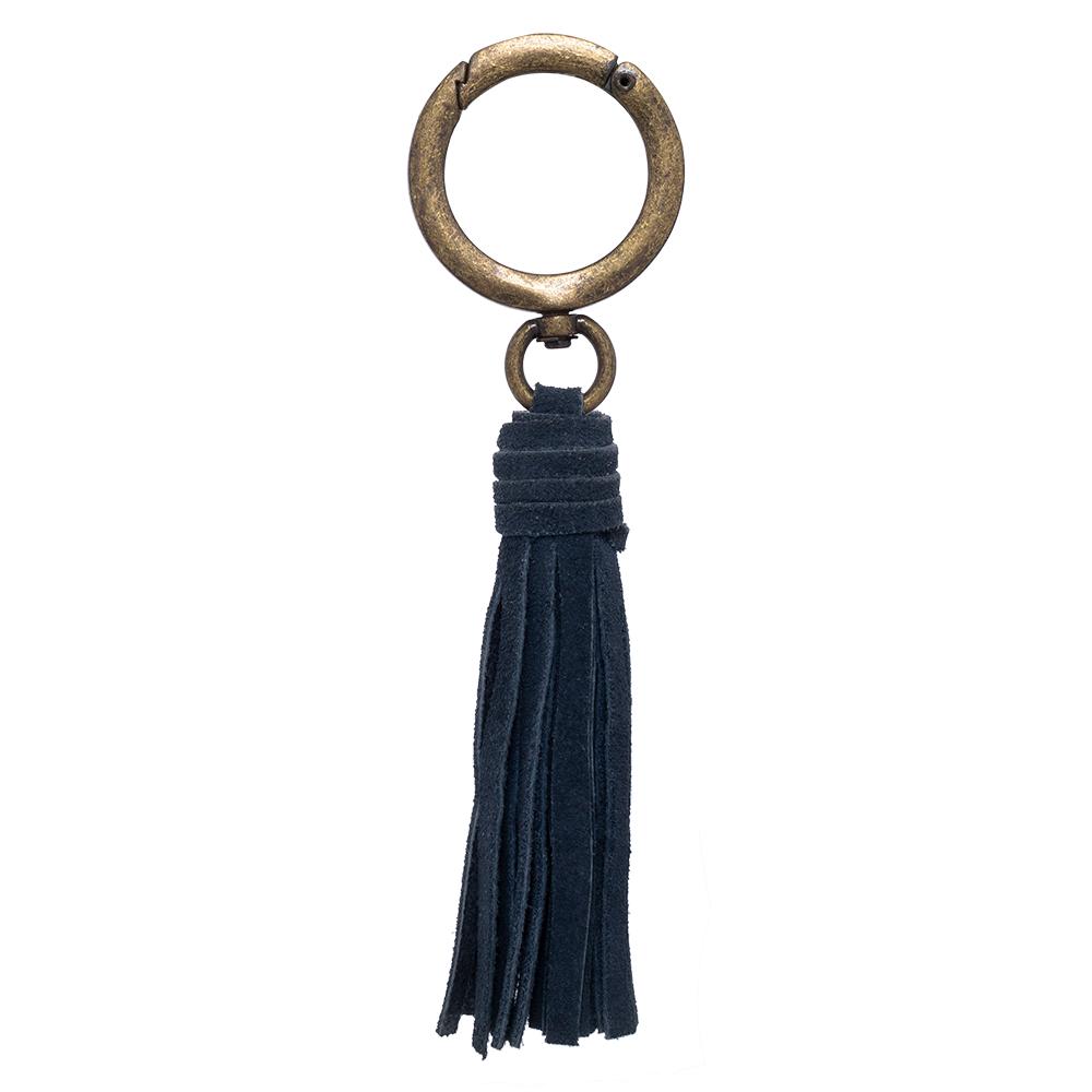 Pingente franja ouro velho com couro camurça azul