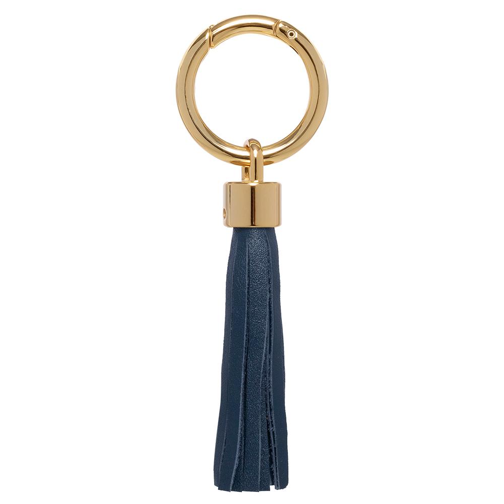 Pingente dourado com couro couro azul