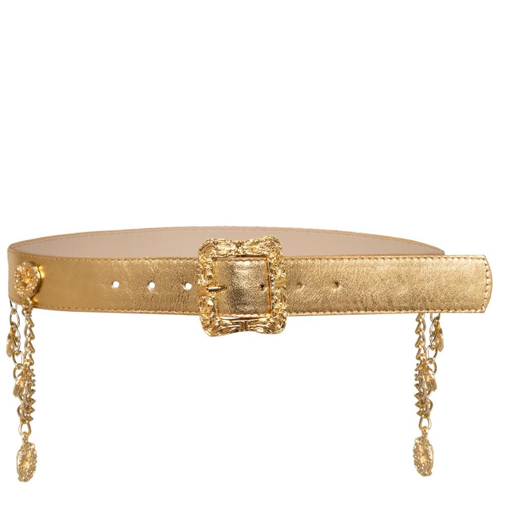 Promoção - Cinto de Couro Dourado Metalizado com Detalhe em Corrente Fivela Dourada - 4,0cm - Feminino