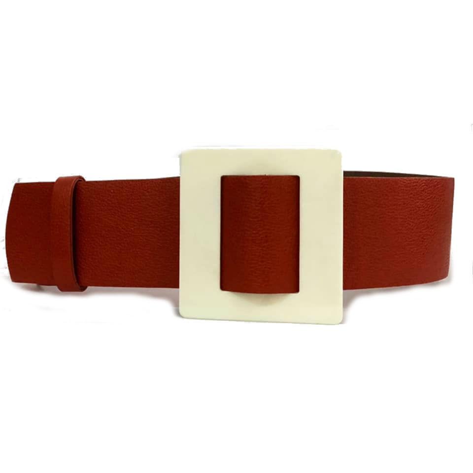 Promoção - Cinto de Couro Max Largo Laranja  - 6,5 - cm - Cintos Exclusivos - Feminino