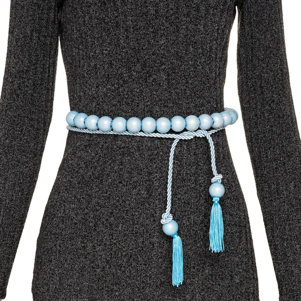 Tendência - Edição Limitada - Cinto Corda Azul  - 3 cm -Cintos Exclusivos - Feminino