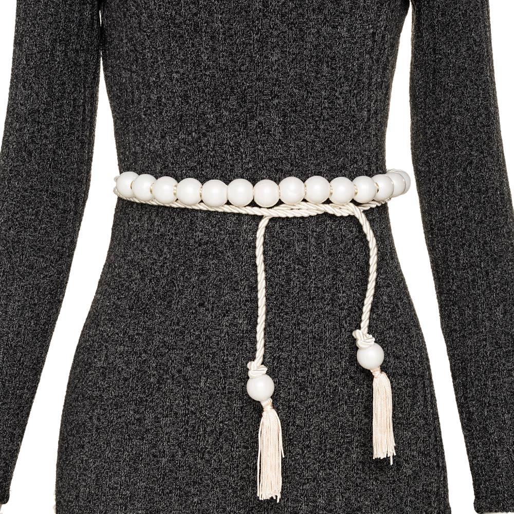 Tendência - Edição Limitada - Cinto Corda Branco  - 3 cm -Cintos Exclusivos VC - Feminino