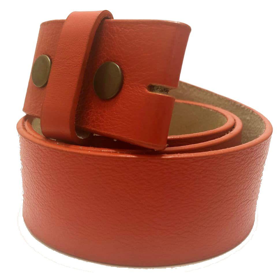 Tira para Cinto de Couro Laranja - 4cm - Cintos Exclusivos - Feminino
