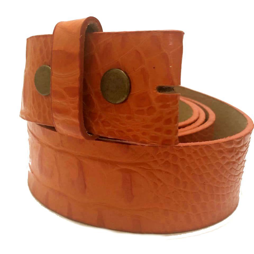 Tira para Cinto de Couro Croco Laranja  - 4cm - Cintos Exclusivos - Feminino
