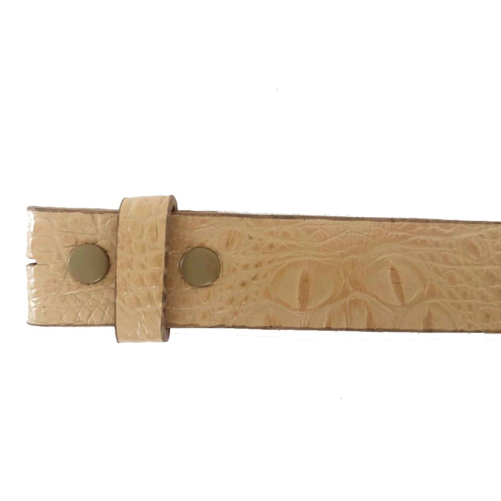 Tira para Cinto de Couro Croco Nude - 4cm - Cintos Exclusivos - Feminino