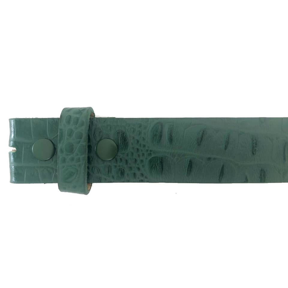 Tira para Cinto de Couro Croco Verde - 4cm - Cintos Exclusivos - Feminino