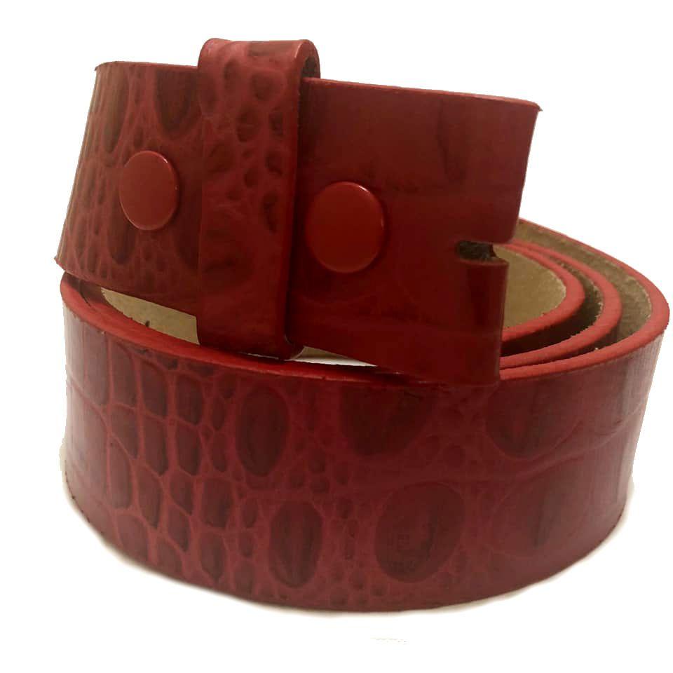 Tira para Cinto de Couro Croco Vermelho - 4cm - Cintos Exclusivos - Feminino