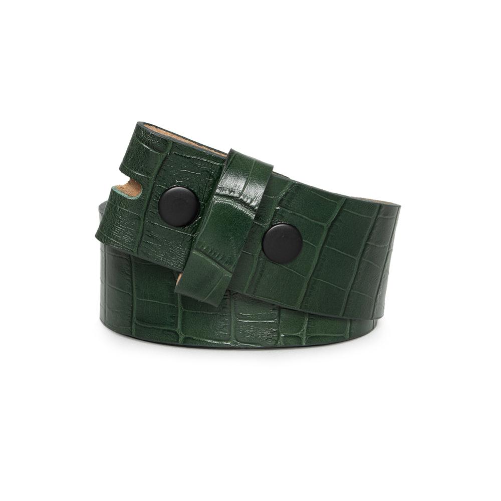 Tira para Cinto de Couro Croco Verde - 4cm - Feminino -   Linha Premium VC