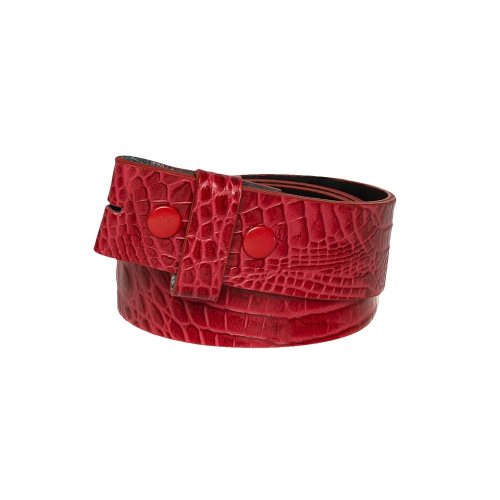 Tira para Cinto de Couro Croco Vermelho - 4cm - Feminino -   Linha Premium VC