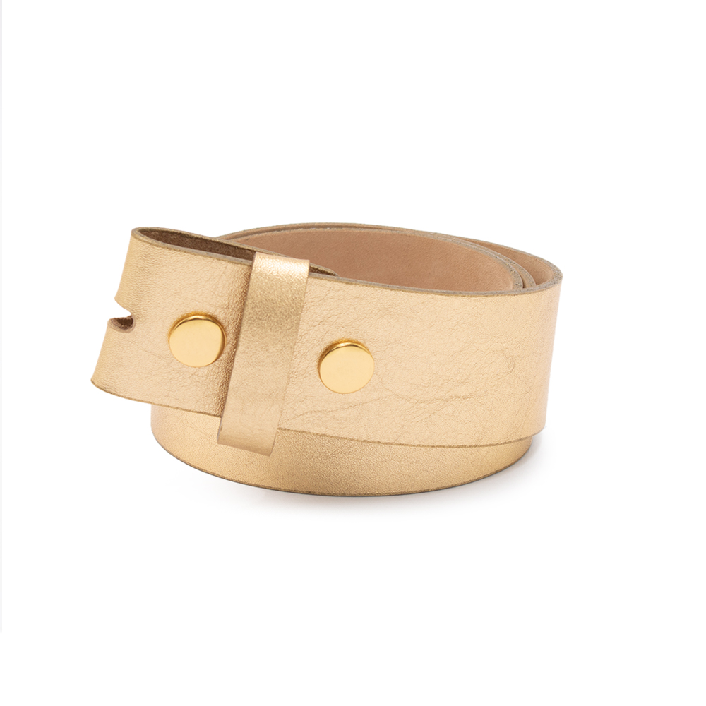 Tira para Cinto de Couro Dourado - 4cm - Feminino -   Linha Premium VC