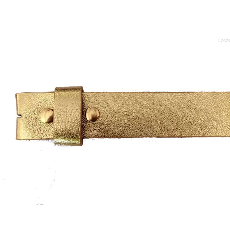 Tira para Cinto de Couro Dourado - 4cm - Cintos Exclusivos - Feminino