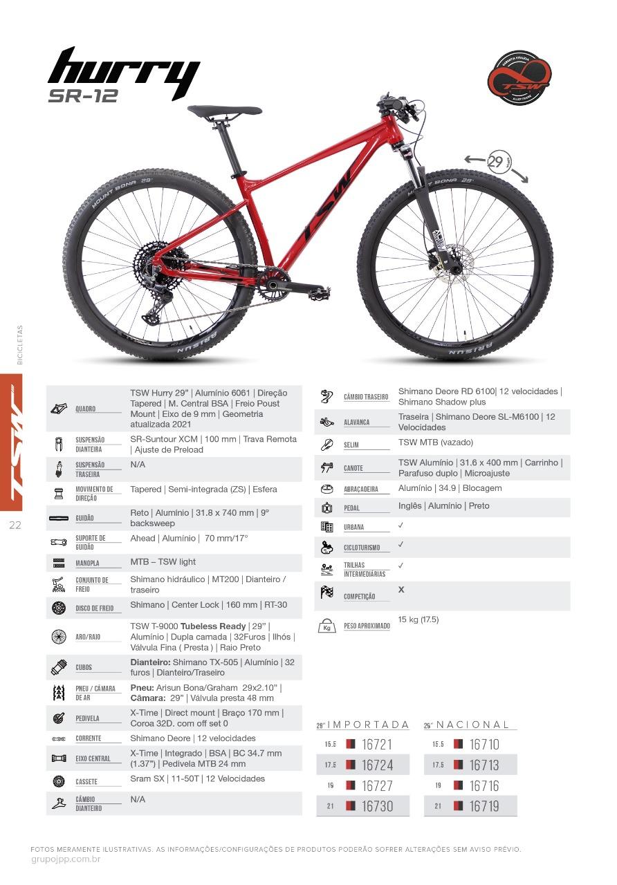 "Bicicleta TSW HURRY SR 12V  29 tamanho 15""5"