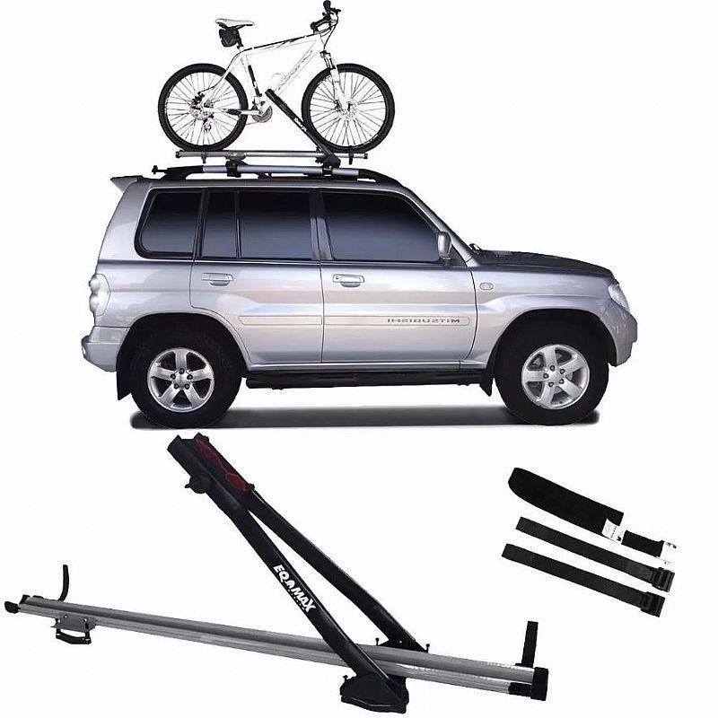 Suporte Transbike para Rack de Teto Eqmax Velox Aluminium Prata Capacidade 1 Bicicleta