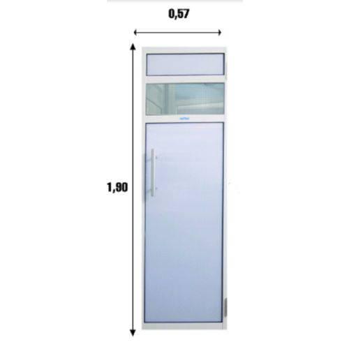 Porta de Policarbonato c/ estrutura em alumínio branco 0,57 x 1,90 m