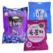 Combo 3 Balas Coreanas Blueberry Framboesa e Soda
