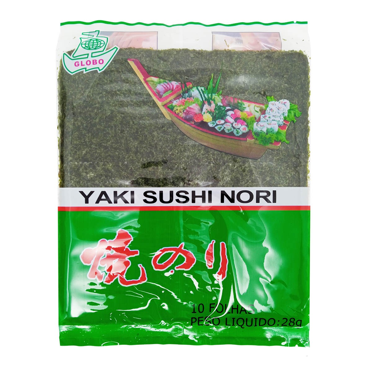 Alga Marinha Yaki Nori para Sushi/Temaki 10 folhas 28g - Globo