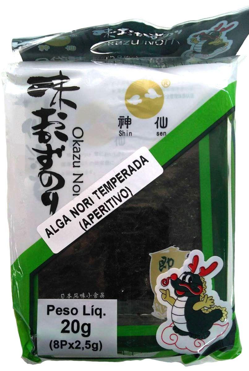 Alga Aperitivo Nori Temperado Okazu Shinsen 20g 8x9cm