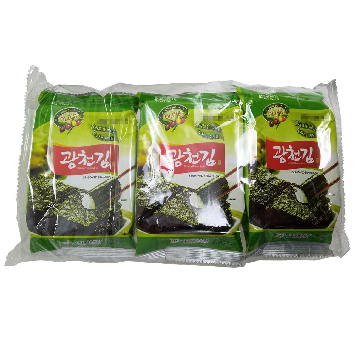 Alga Temperada com Chá Verde e Oliva 15g(5gx3) - Kwang Cheon Kim