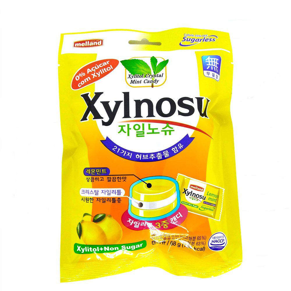Bala Sem Adição de Açúcar (Xylitol) Xylnosu 68g - Limão