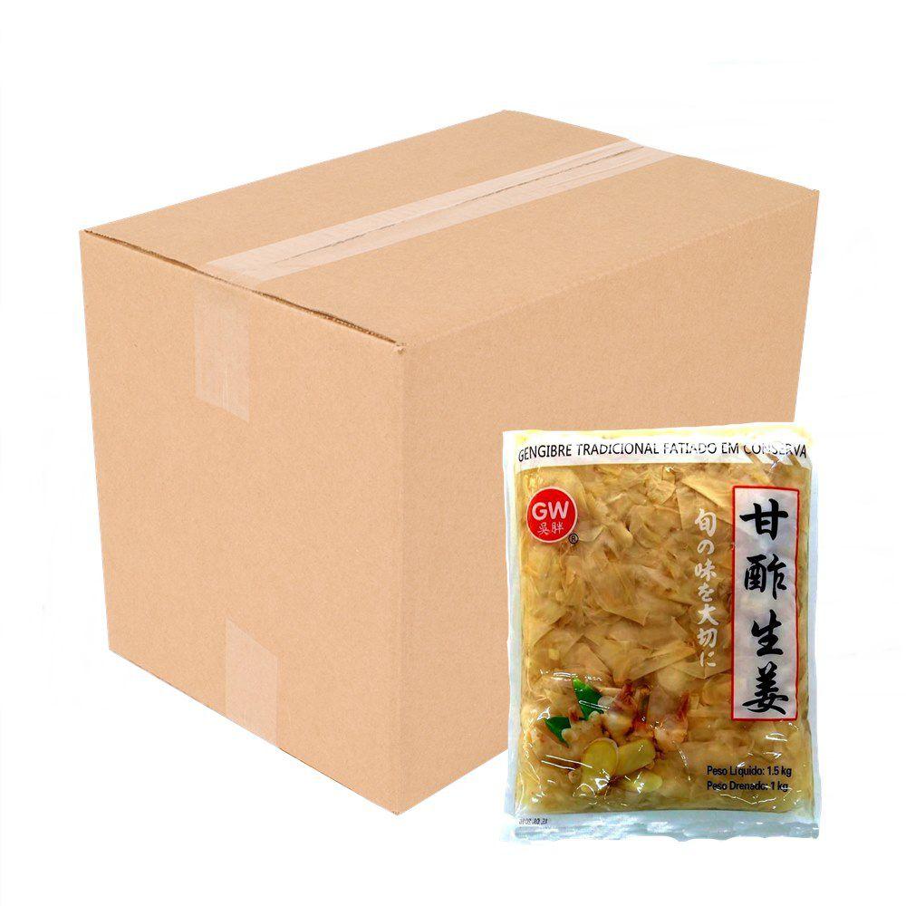 Caixa de Gengibre Fatiado Agridoce Gari Shoga (10 x 1kg)