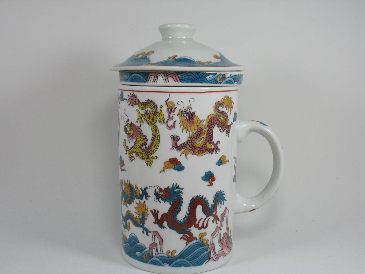 Caneca Com Infusor De Porcelana Decorado Dragão