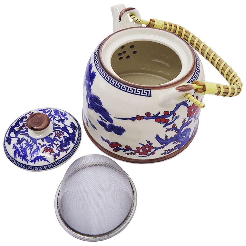 Chaleira Bule Porcelana Estilo Oriental Com Filtro Infusor Teapot