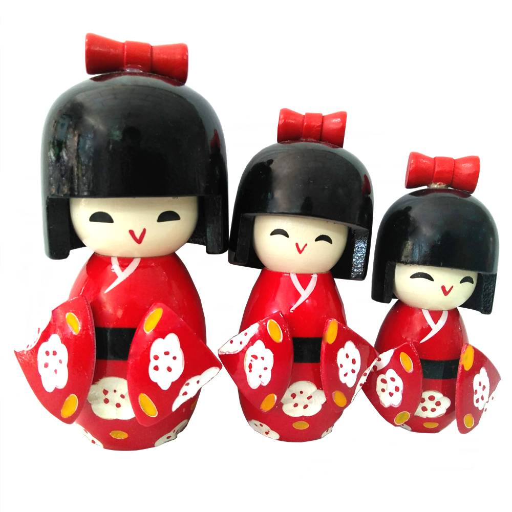 Enfeite 3 Bonecas Kokeshi em Madeira - Vermelho