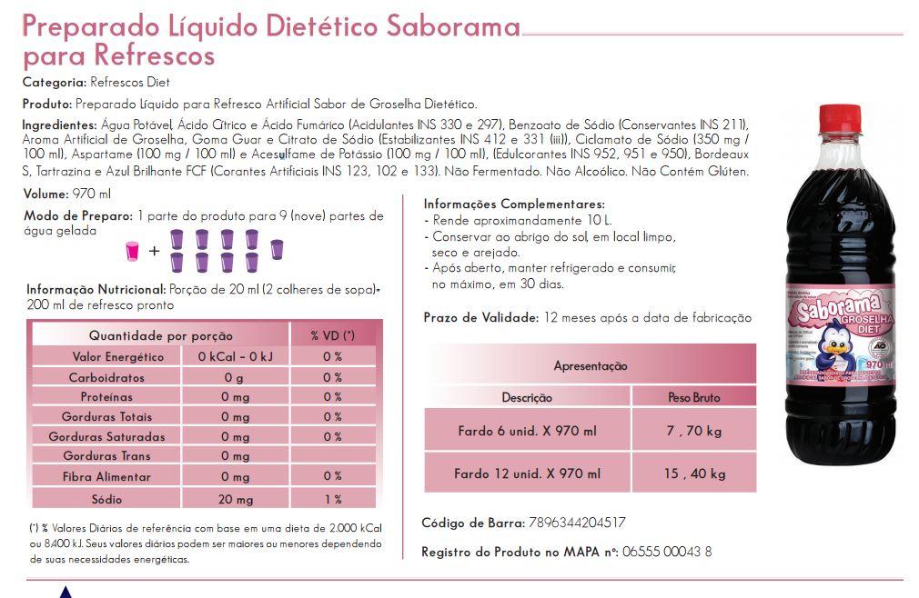 Groselha Diet Saborama 970ml