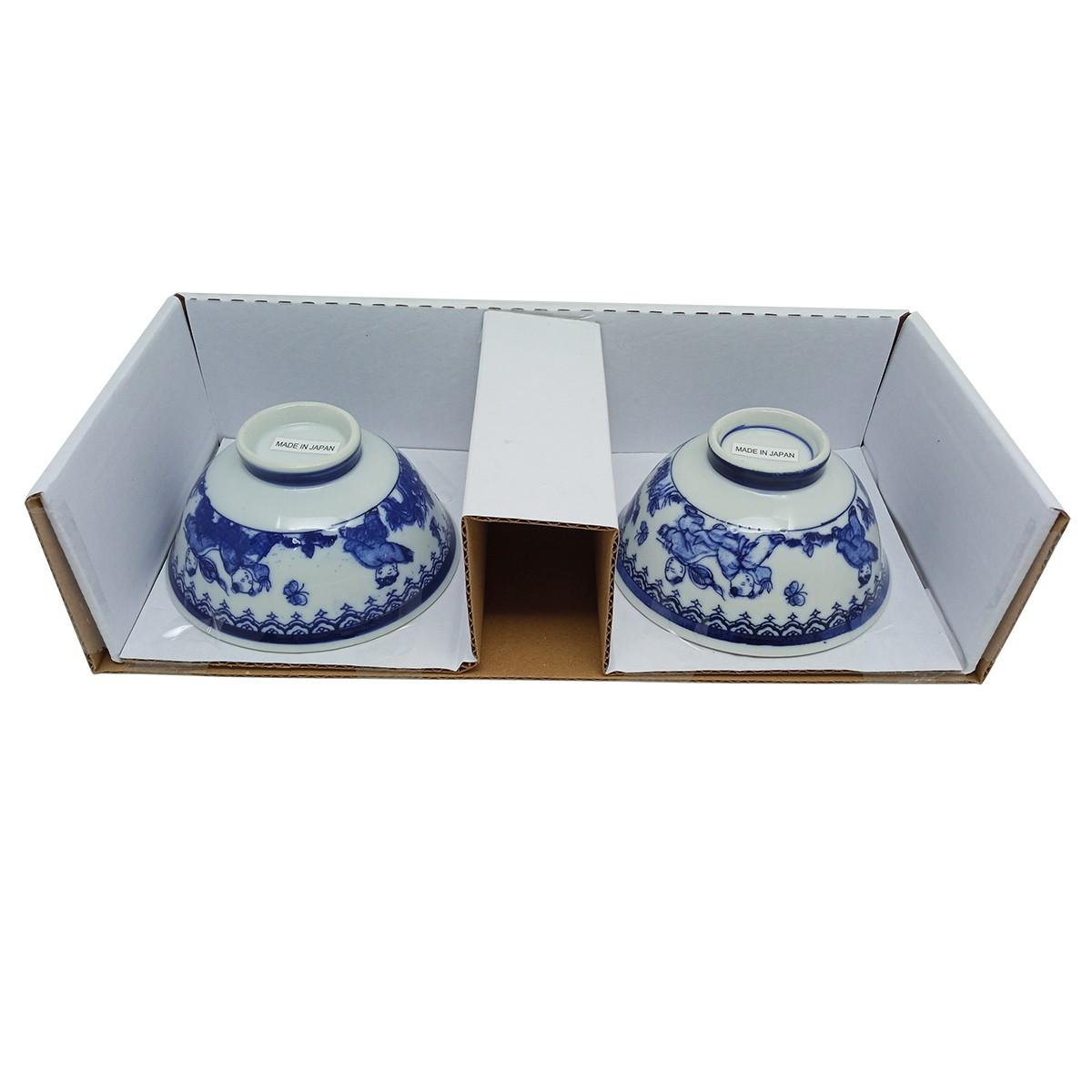 Jogo de Tigelas de Cerâmica Japonesas Det. Azul P/P
