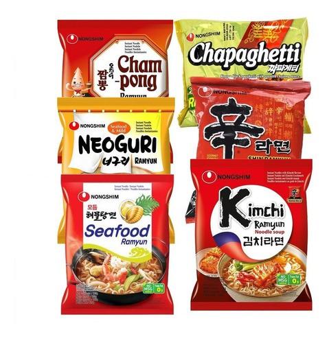 kit Lamen Coreano 6 Sabores Picantes 12 pct Sortidos Nong Shin