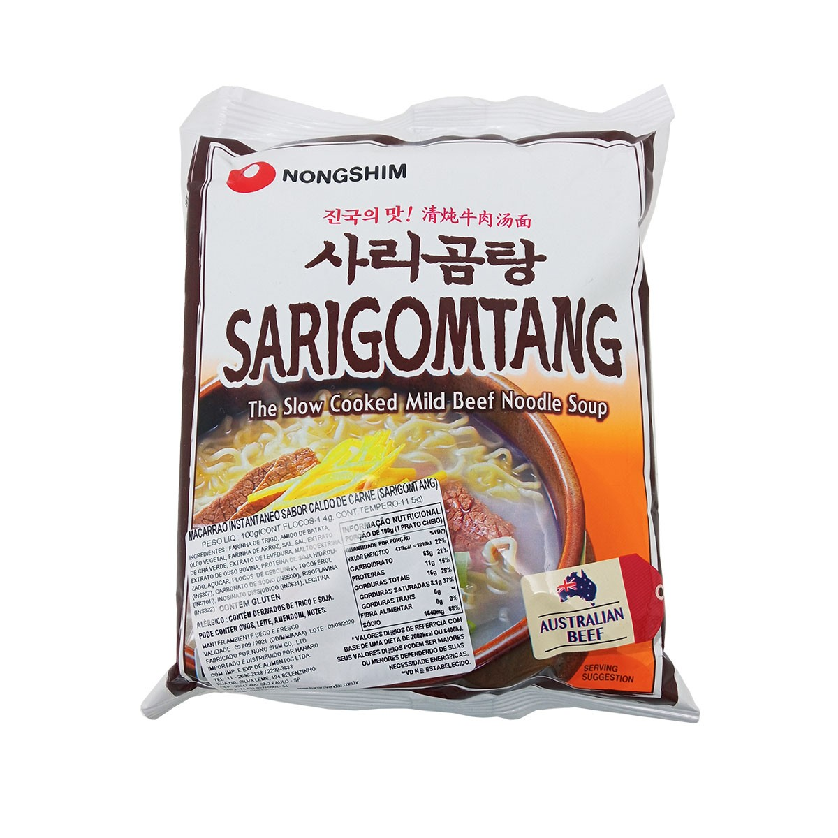 Macarrão Lamen Coreano sabor Caldo de Carne Sarigomtang 100g - Nong Shim
