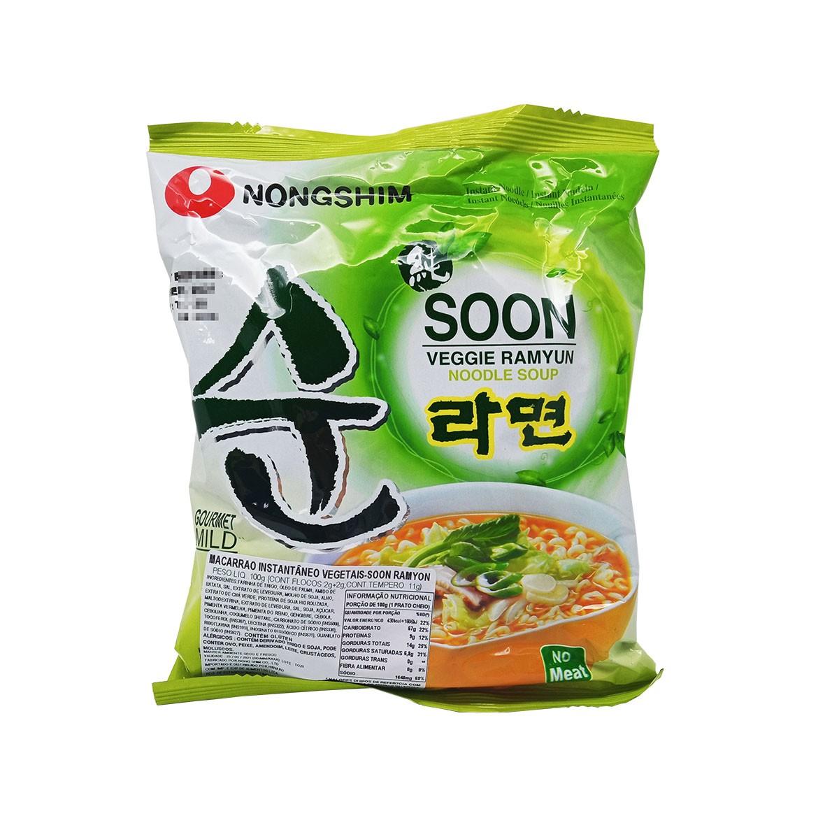 Macarrão Lamen Coreano Soon Veggie Ramyun 100g - NongShim