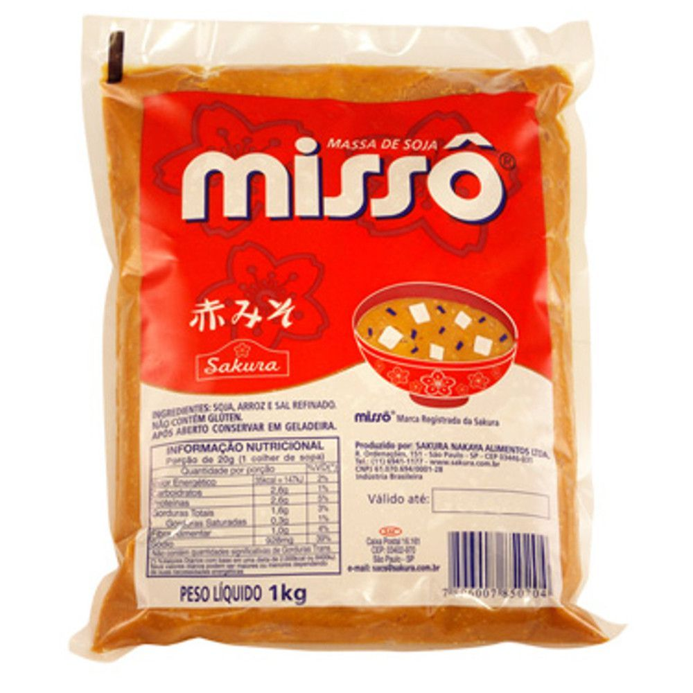Missoshiru 3 itens Missô Sakura Aka 1kg Wakame 50g Hondashi