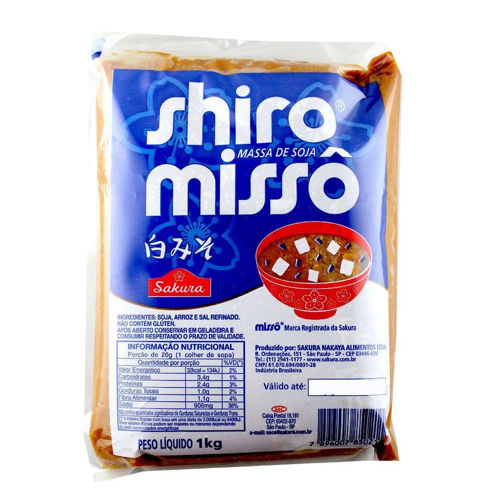 Missoshiru 3 itens Missô Sakura Shiro 1kg Wakame 50g Hondashi 60g