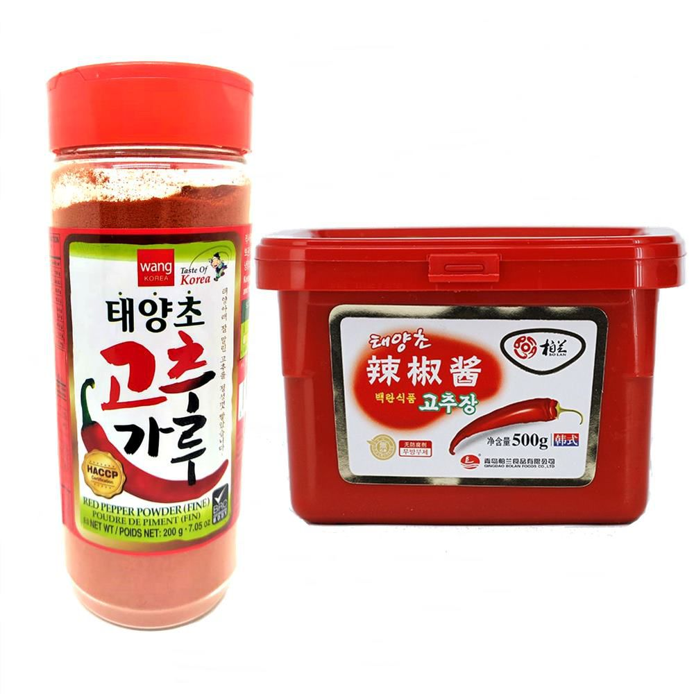 Pimenta em Pó para Kimchi 200g + Pasta de Pimenta HOT Gochujang 500g