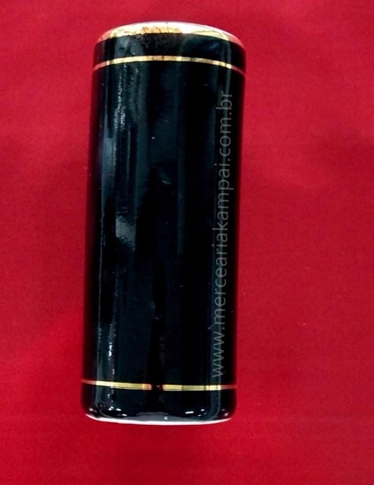 Porta Incenso Tubo Preto - Detalhe em Ouro PO-74BC