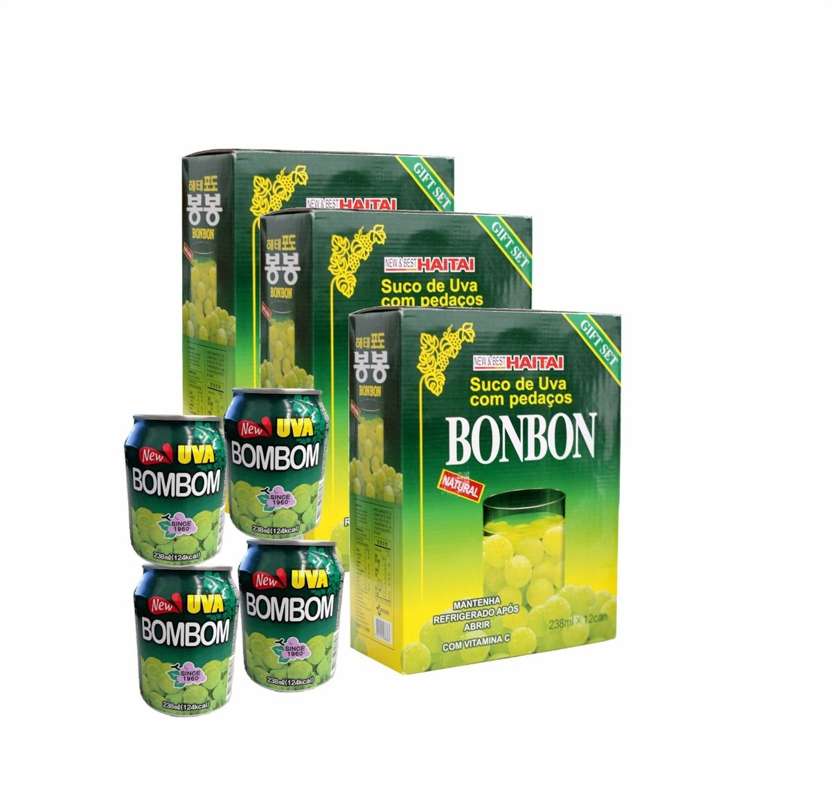 Suco Bonbon Com Uva Verde Inteira - 03 Caixas 36 Unidades
