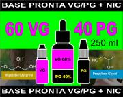 BASES PRONTAS 60% VG  40% PG  - 250 ml