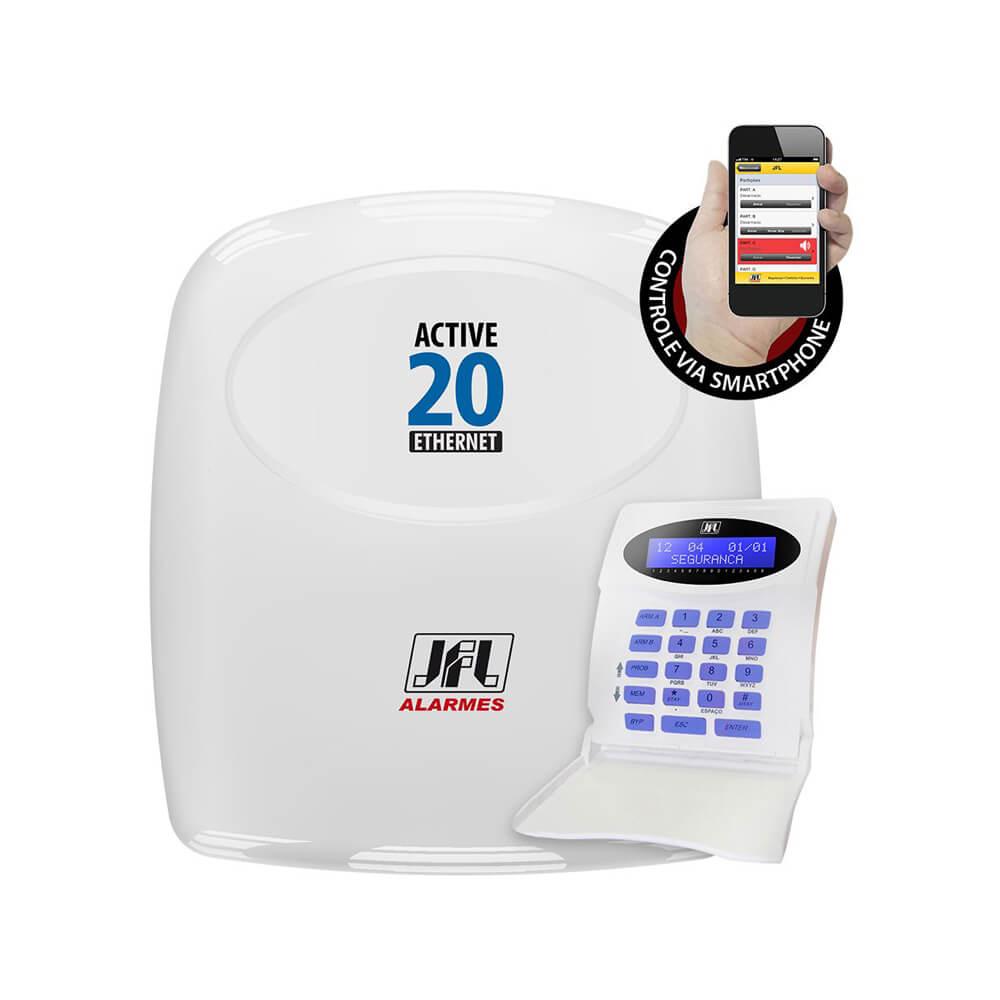 Central de Alarme Monitorada JFL Active 20 Ethernet com até 22 zonas e comunicação via Ethernet 10/100 base T + Teclado LCD