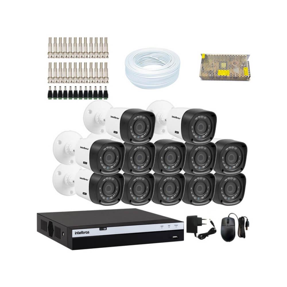KIT DVR Intelbras Full HD 1080p MHDX + 12 Câmeras VHD 1220 B Full HD + Acessórios