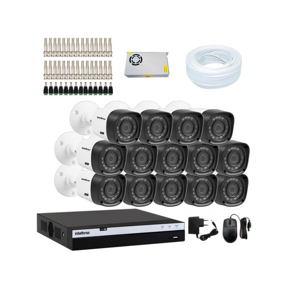 KIT DVR Intelbras Full HD 1080p MHDX + 14 Câmeras VHD 1220 B Full HD + Acessórios