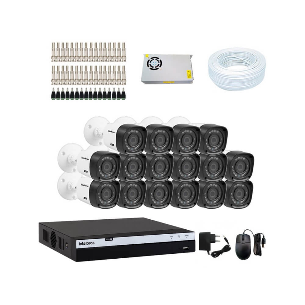 KIT DVR Intelbras Full HD 1080p MHDX + 16 Câmeras VHD 1220 B Full HD + Acessórios