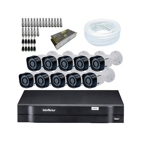 KIT DVR Intelbras MHDX + 10 Câmeras VHD 1120B G3 + Acessórios