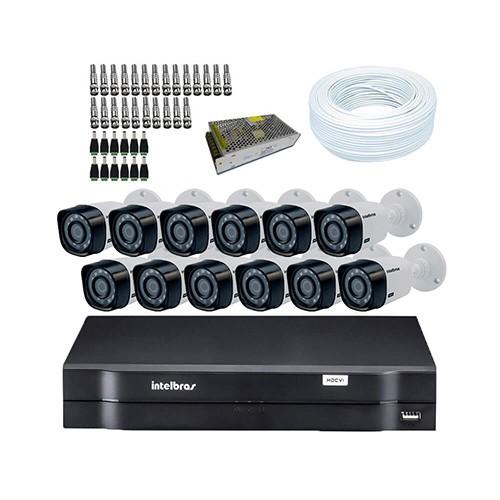 KIT DVR Intelbras MHDX + 12 Câmeras VHD 1120B G3 + Acessórios