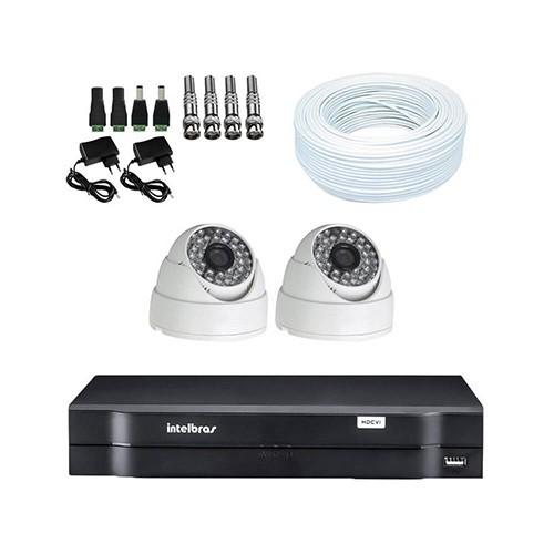 KIT DVR Intelbras + 2 Câmeras Dome Infra 1200 Linhas Resolução + Acessórios